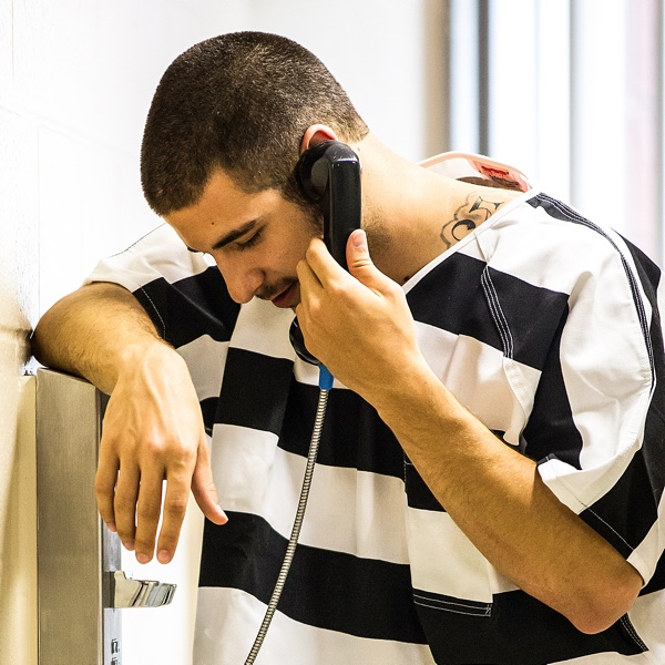 Inmate on Telephone
